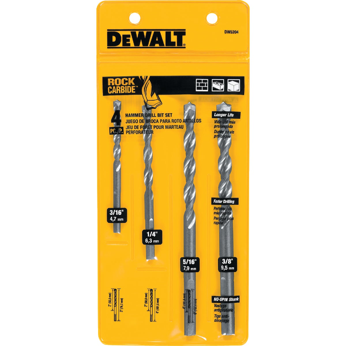 4PC MASONRY BIT - DW5204 by DeWalt