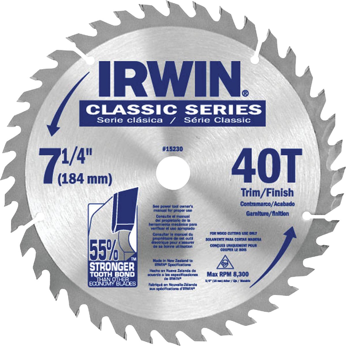 "7-1/4"" 40T SAW BLADE - 15230ZR by Irwin Industr Tool"