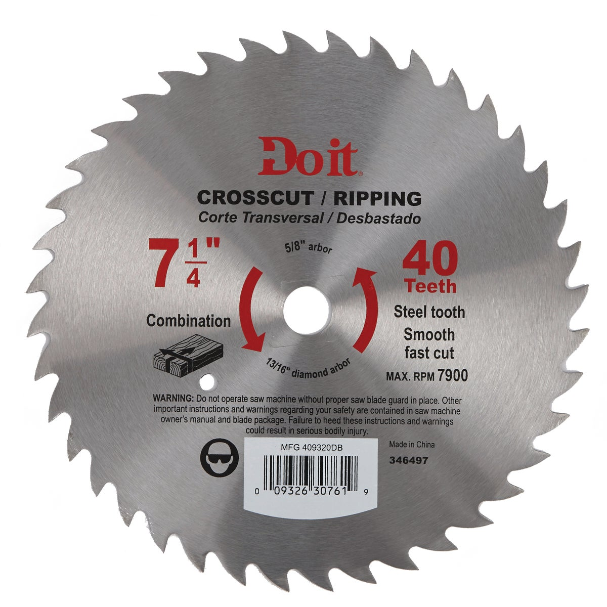 "7-1/4"" CUT/RIP SAW BLADE - 409320DB by Mibro/gs"