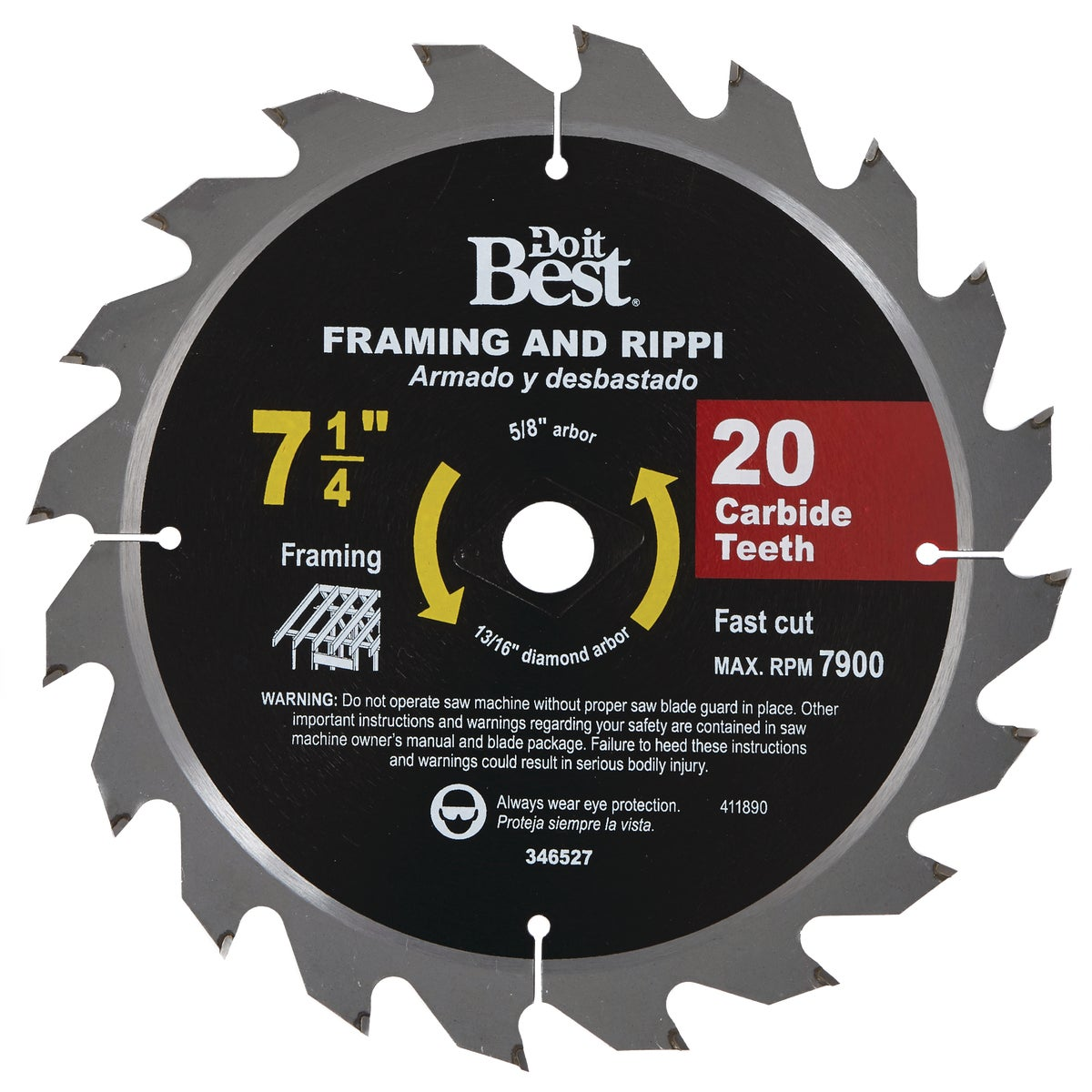 7-1/4 20T CARB SAW BLADE