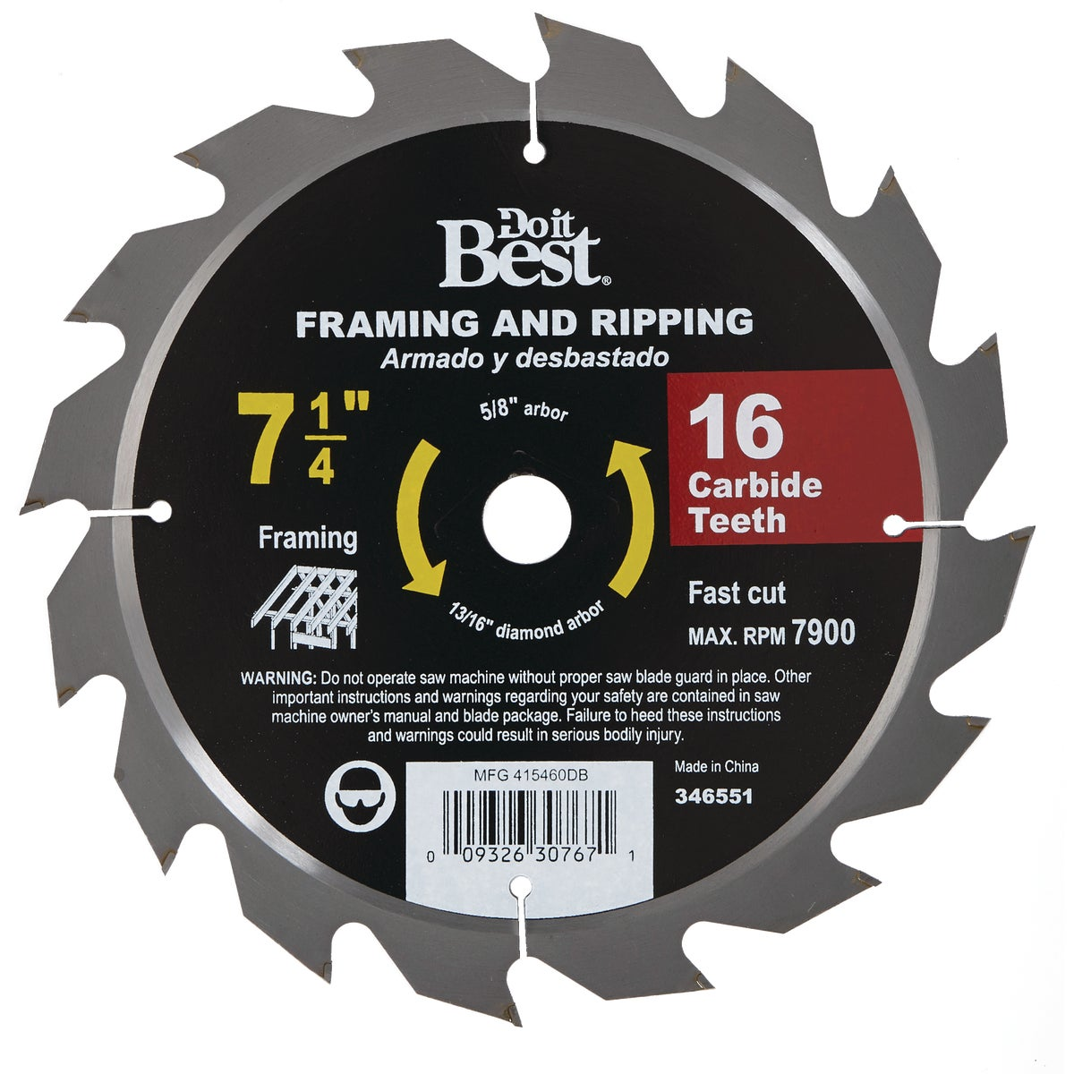 7-1/4 16T CARB SAW BLADE - 415460DB by Mibro/gs