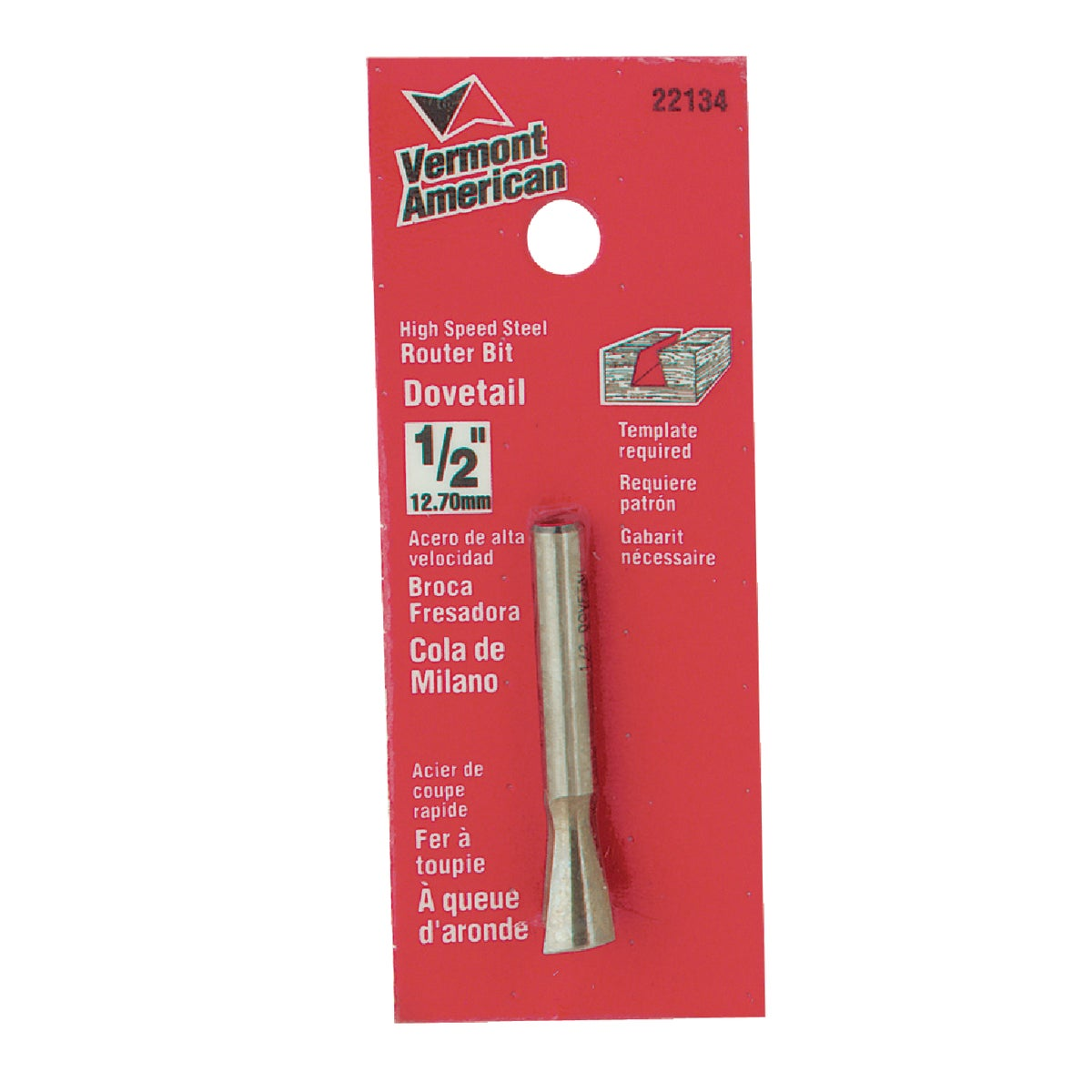 "1/2"" DOVETAIL ROUTER BIT - 23114 by Vermont American"