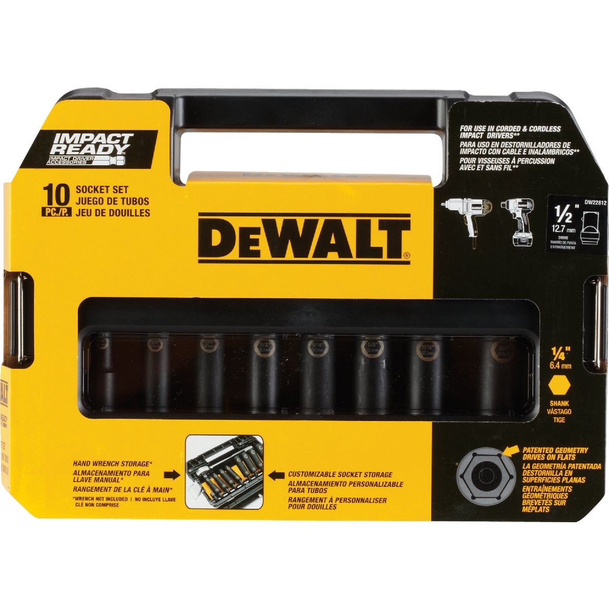 "10PC 1/2"" DR IMPACT SET - DW22812 by DeWalt"