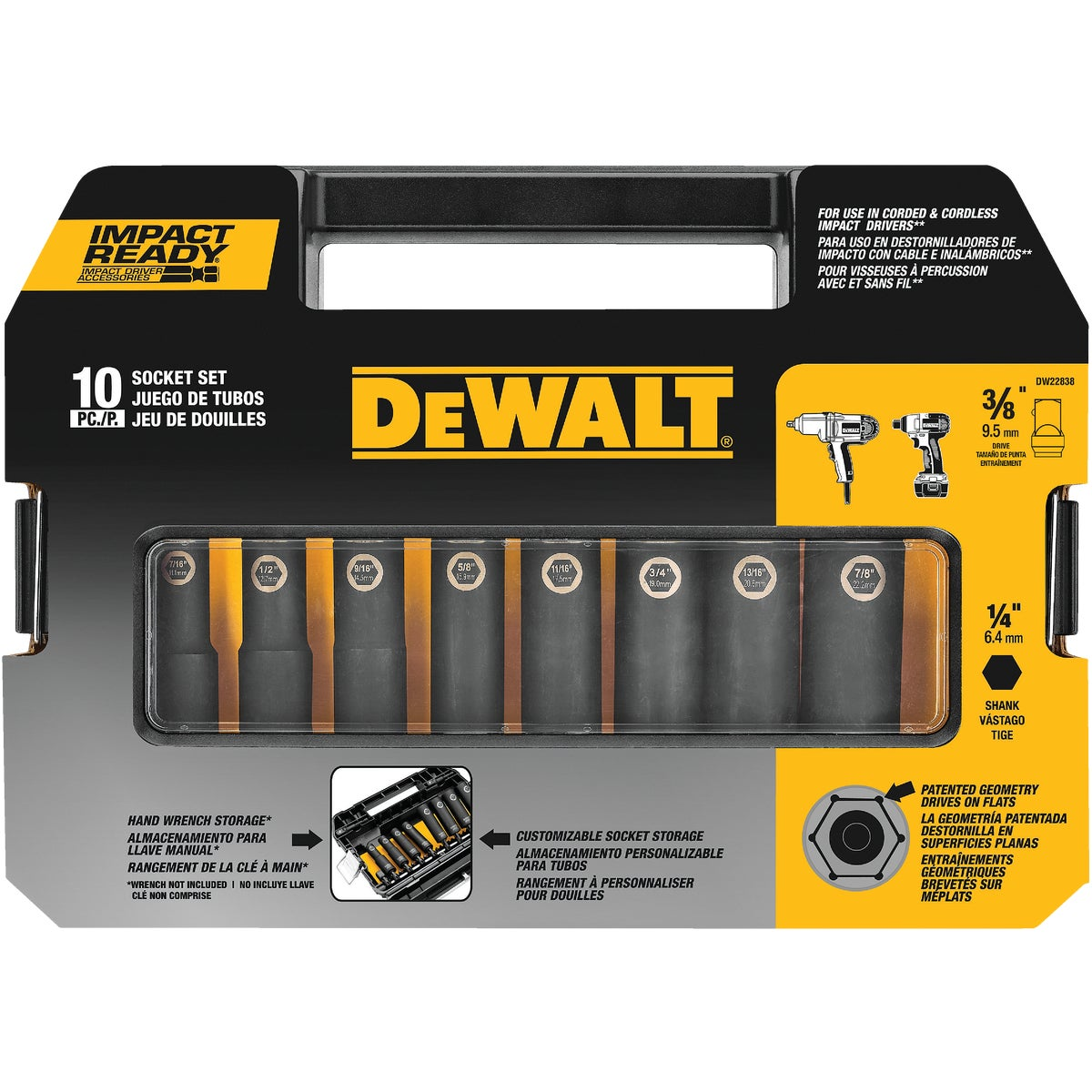 "10PC 3/8"" DR IMPACT SET - DW22838 by DeWalt"