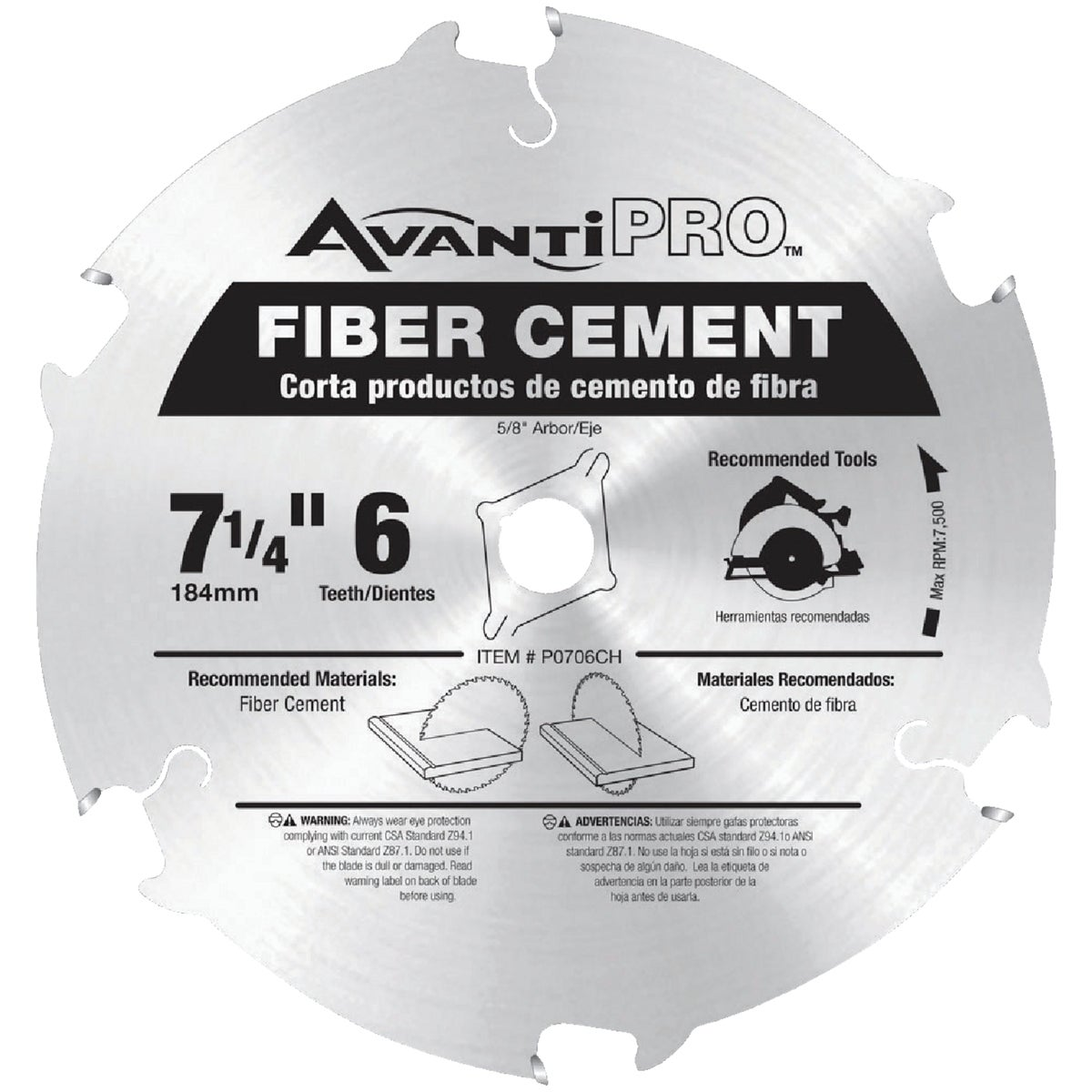"7-1/4"" 6T CEMENT BLADE - P0706CH by Freud Inc"