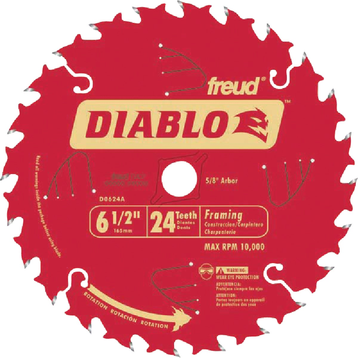 "6-1/2"" 24T DIABLO BLADE - D0624A by Freud Inc"