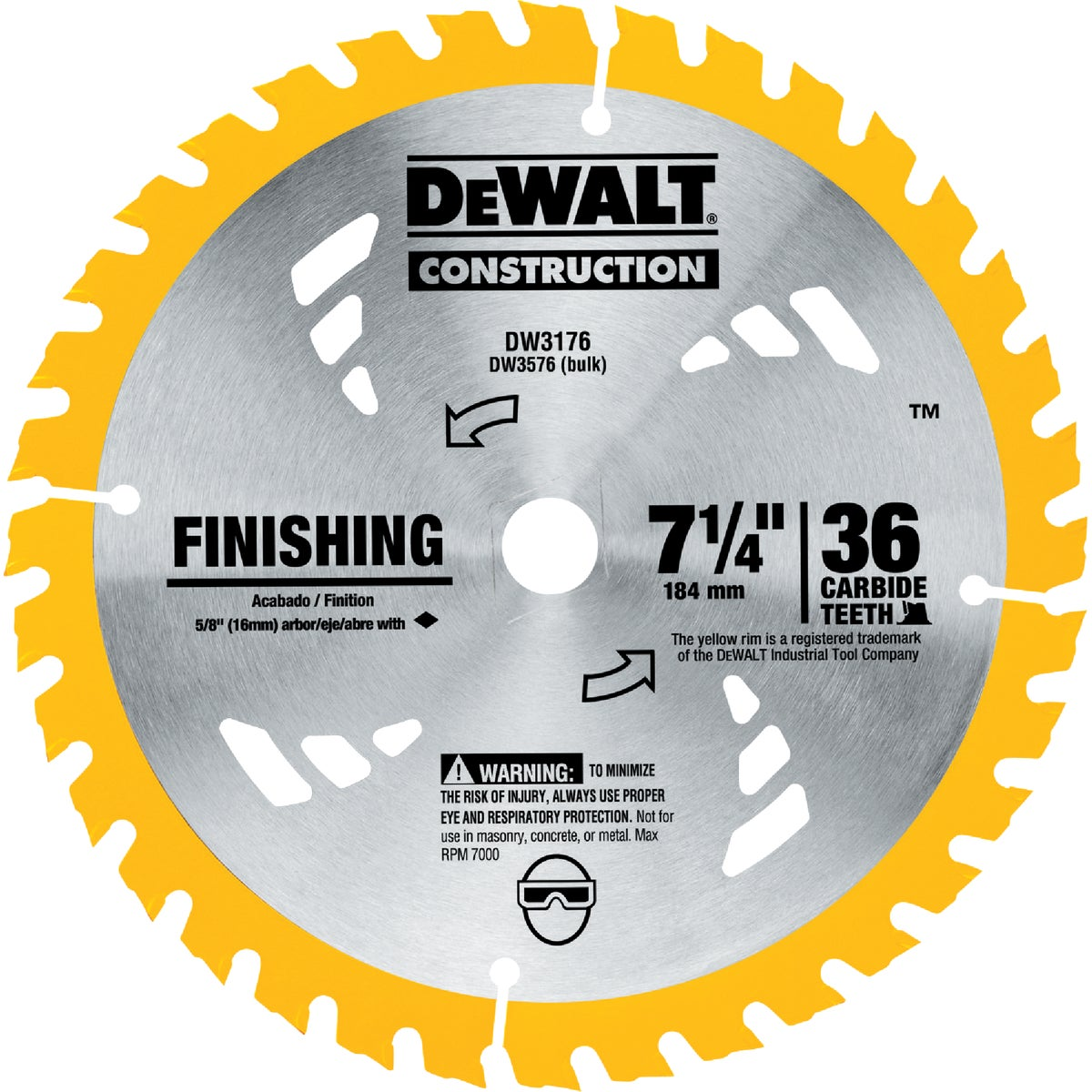 "7-1/4"" 36T CARBIDE BLADE - DW3176 by DeWalt"