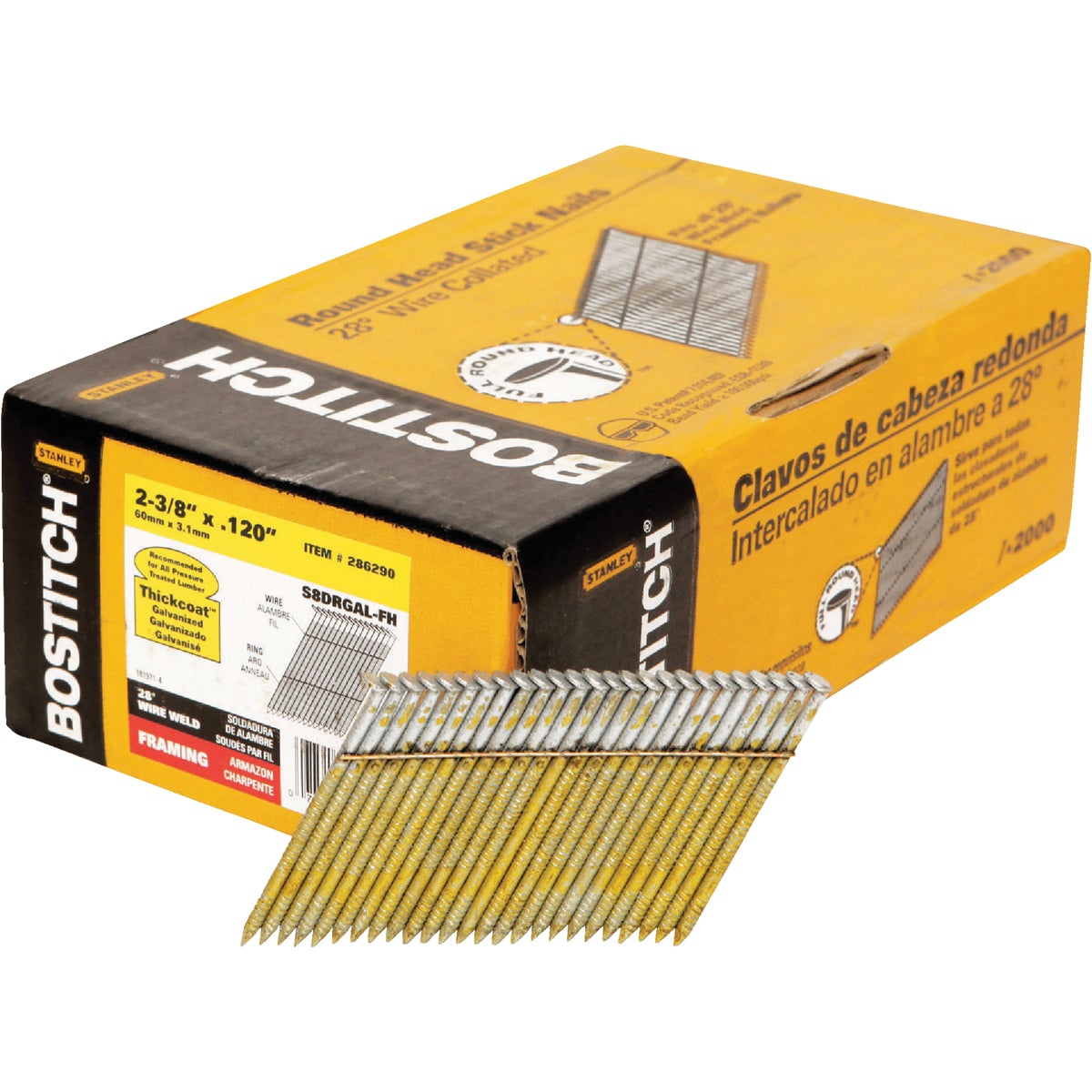 "2-3/8"" FRAMING NAIL - S8DRGAL-FH by Stanley Bostitch"