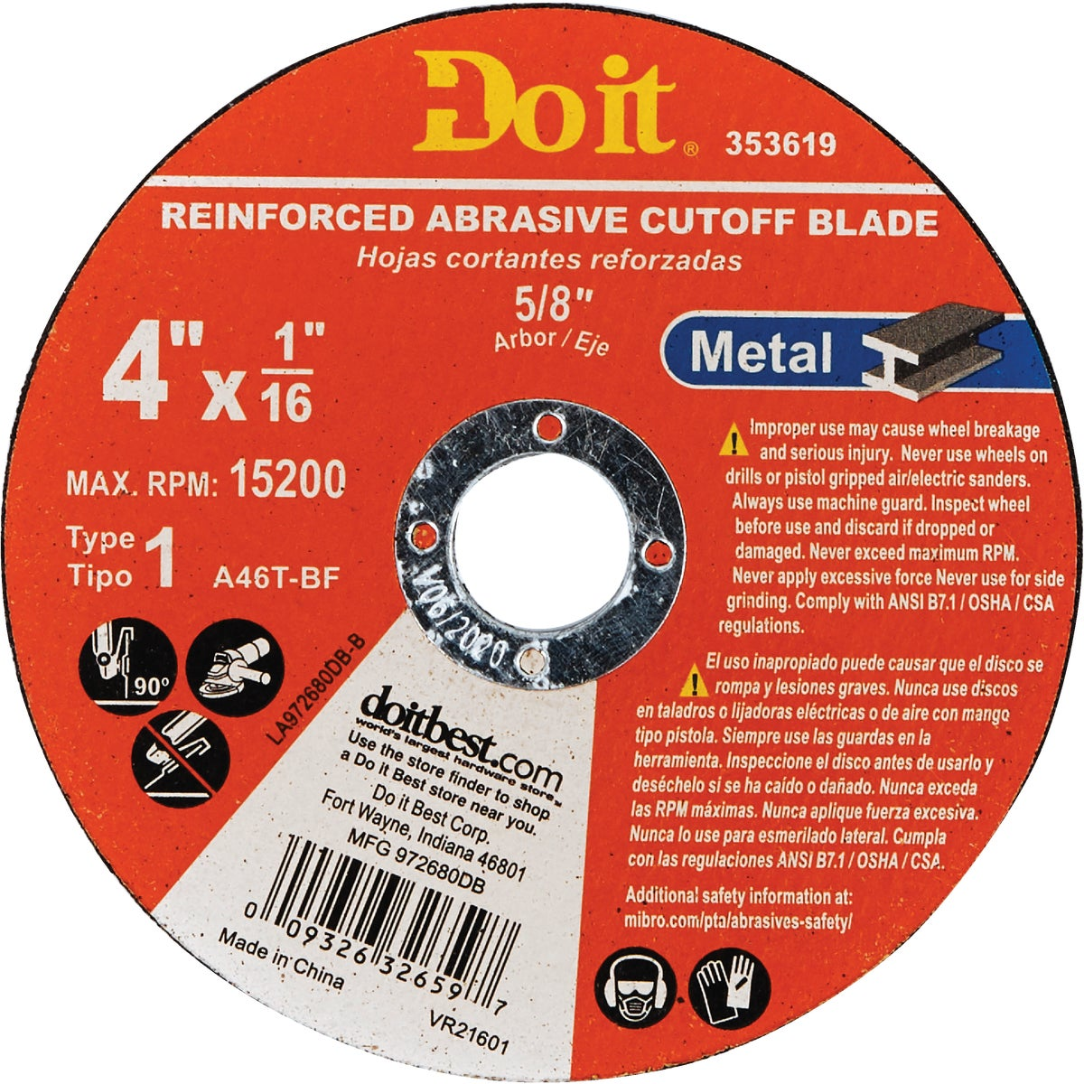 "4"" METAL CUTTING WHEEL"