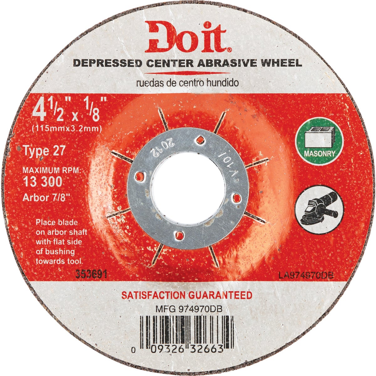 4-1/2X1/8 MASONRY WHEEL - 974970DB by Mibro/gs