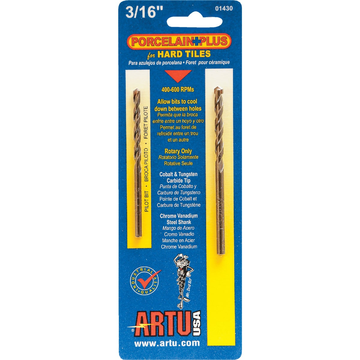 "3/16"" PORC AND TILE BIT - 01430 by Artu Usa Inc"