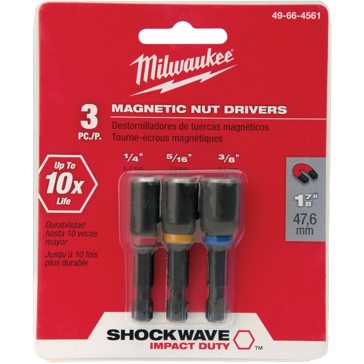 "3PC 1-7/8"" NUTDRIVER SET - 49-66-4561 by Milwaukee Accessory"