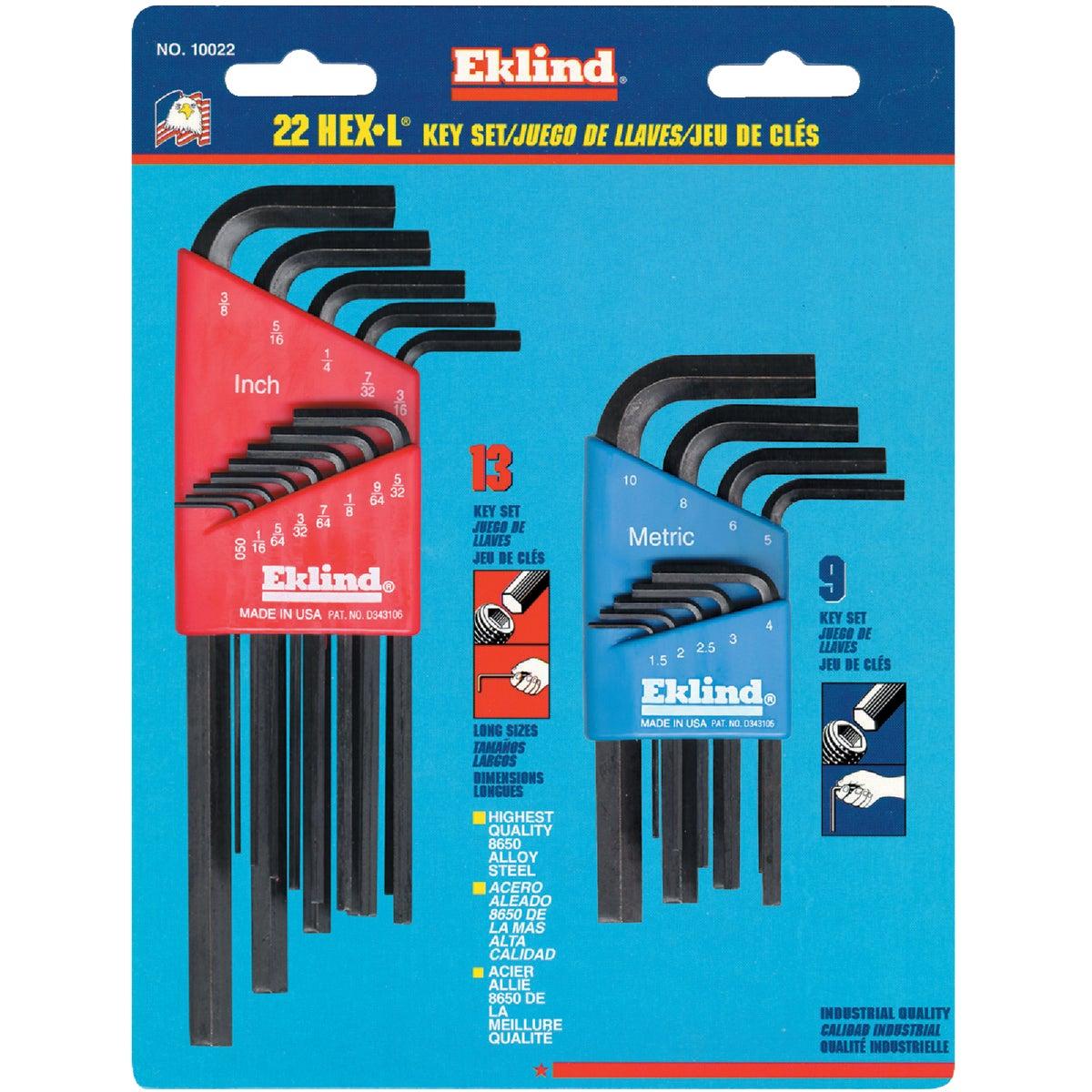 Eklind Tool 10022 Hex Keys Standard & Metric 22 Piece Set