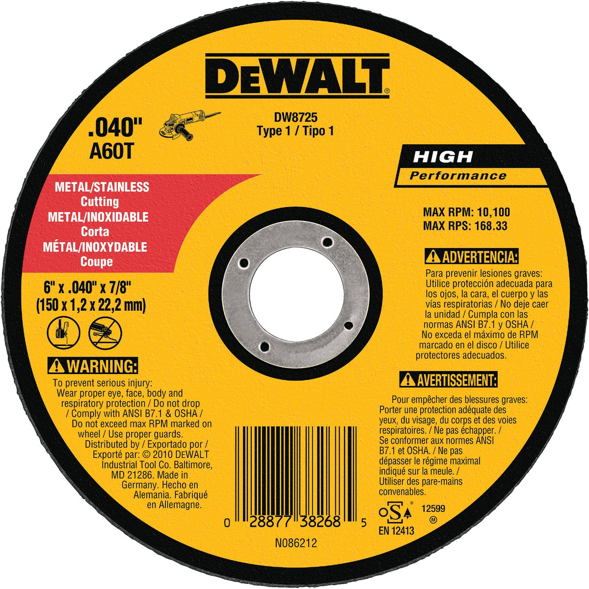 "6"" METAL CUTOFF WHEEL - DW8725 by DeWalt"