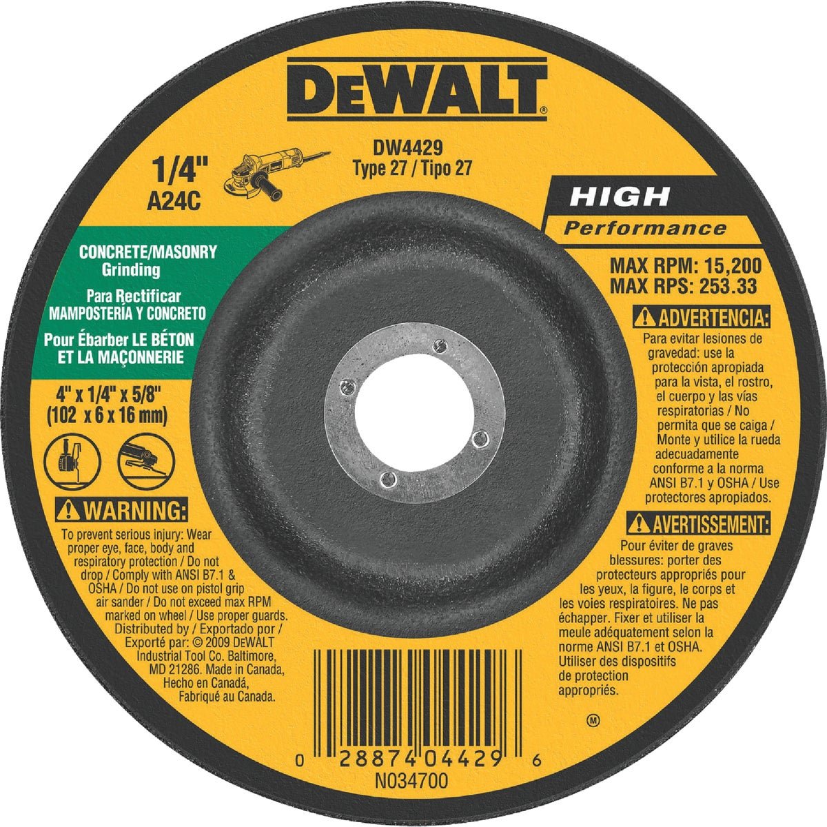 4X1/4 MSNRY GRIND WHEEL - DW4429 by DeWalt