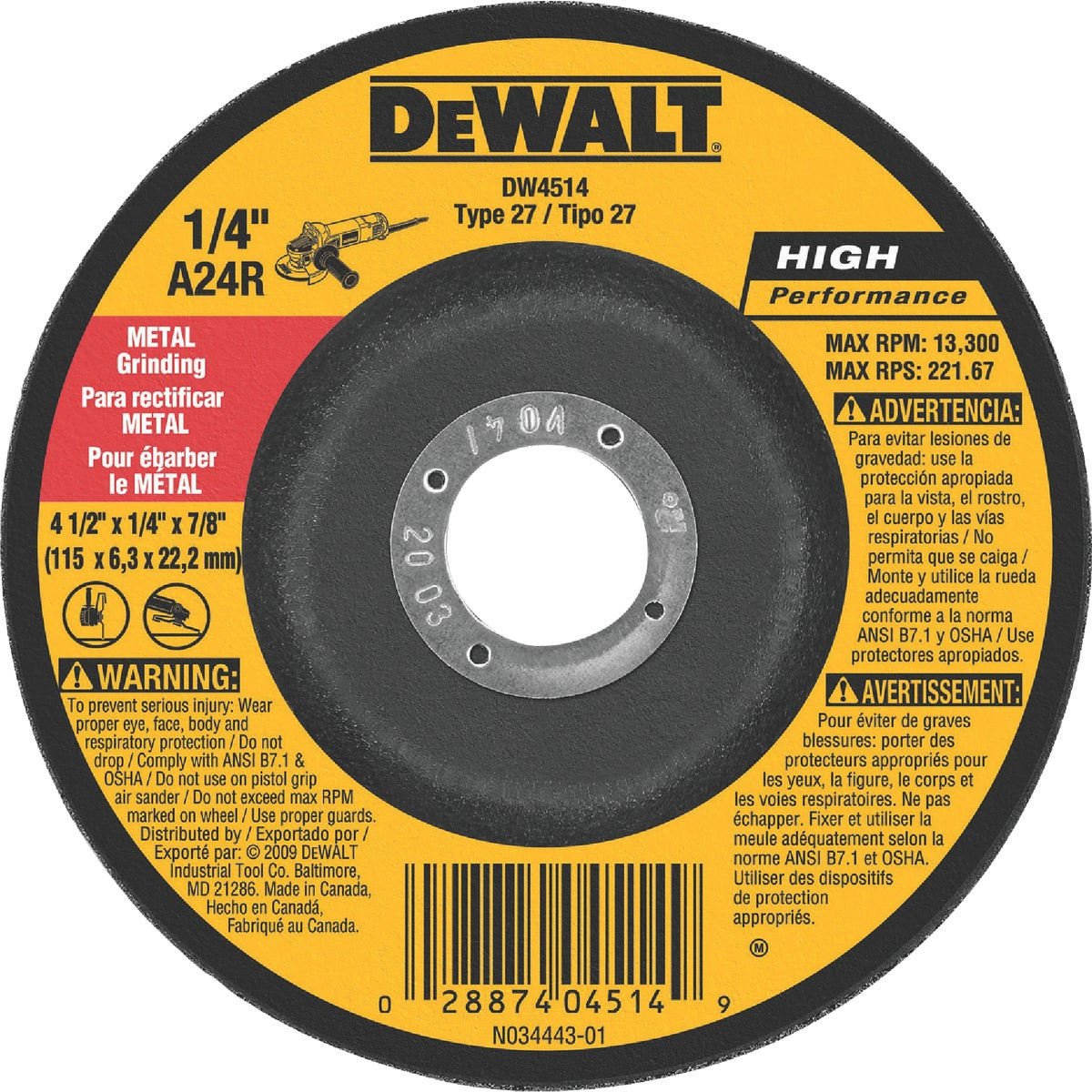 4-1/2X1/4X7/8 GRND WHEEL - DW4514 by DeWalt