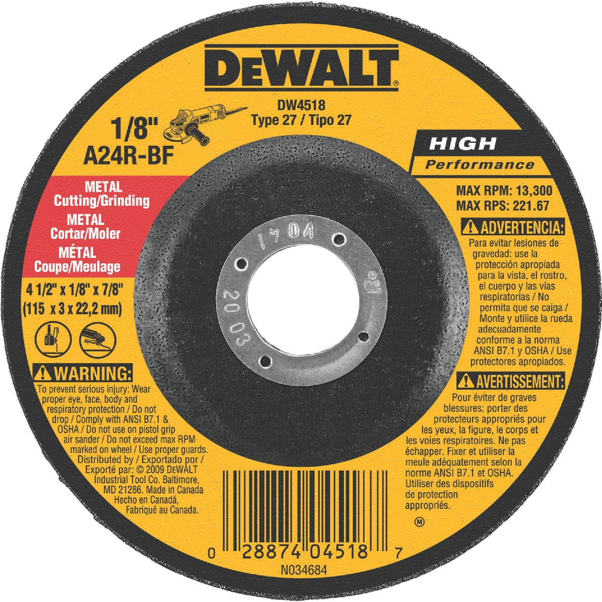 4-1/2X1/8X7/8 GRND WHEEL - DW4518 by DeWalt