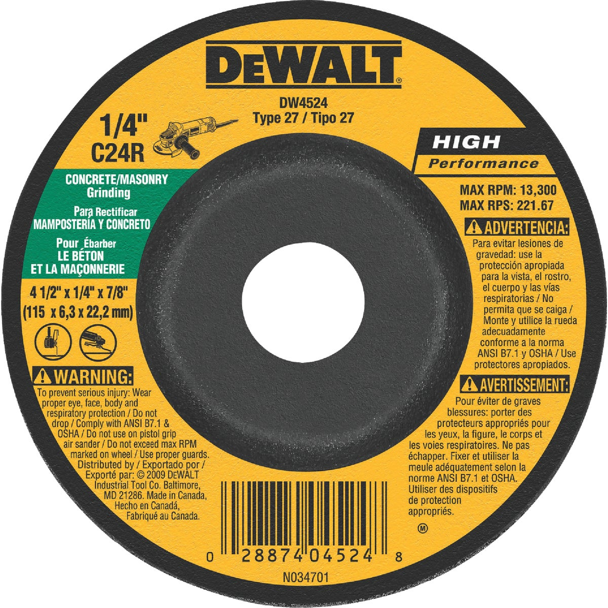 4-1/2X1/4 MASONRY WHEEL - DW4524 by DeWalt