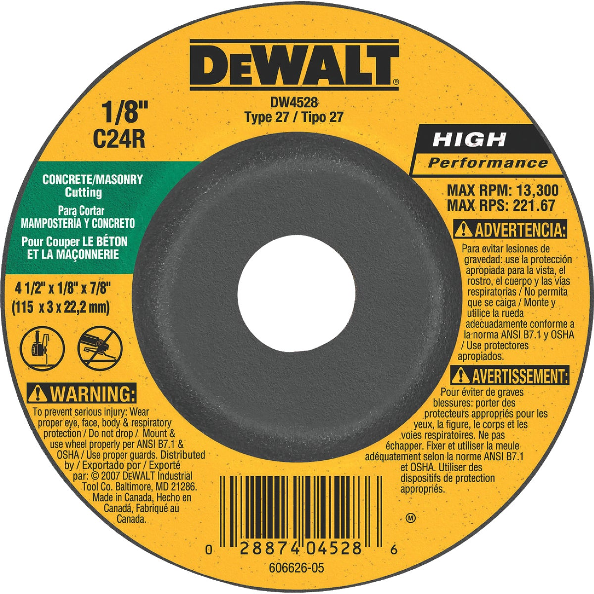 4-1/2X1/8 MASONRY WHEEL - DW4528 by DeWalt