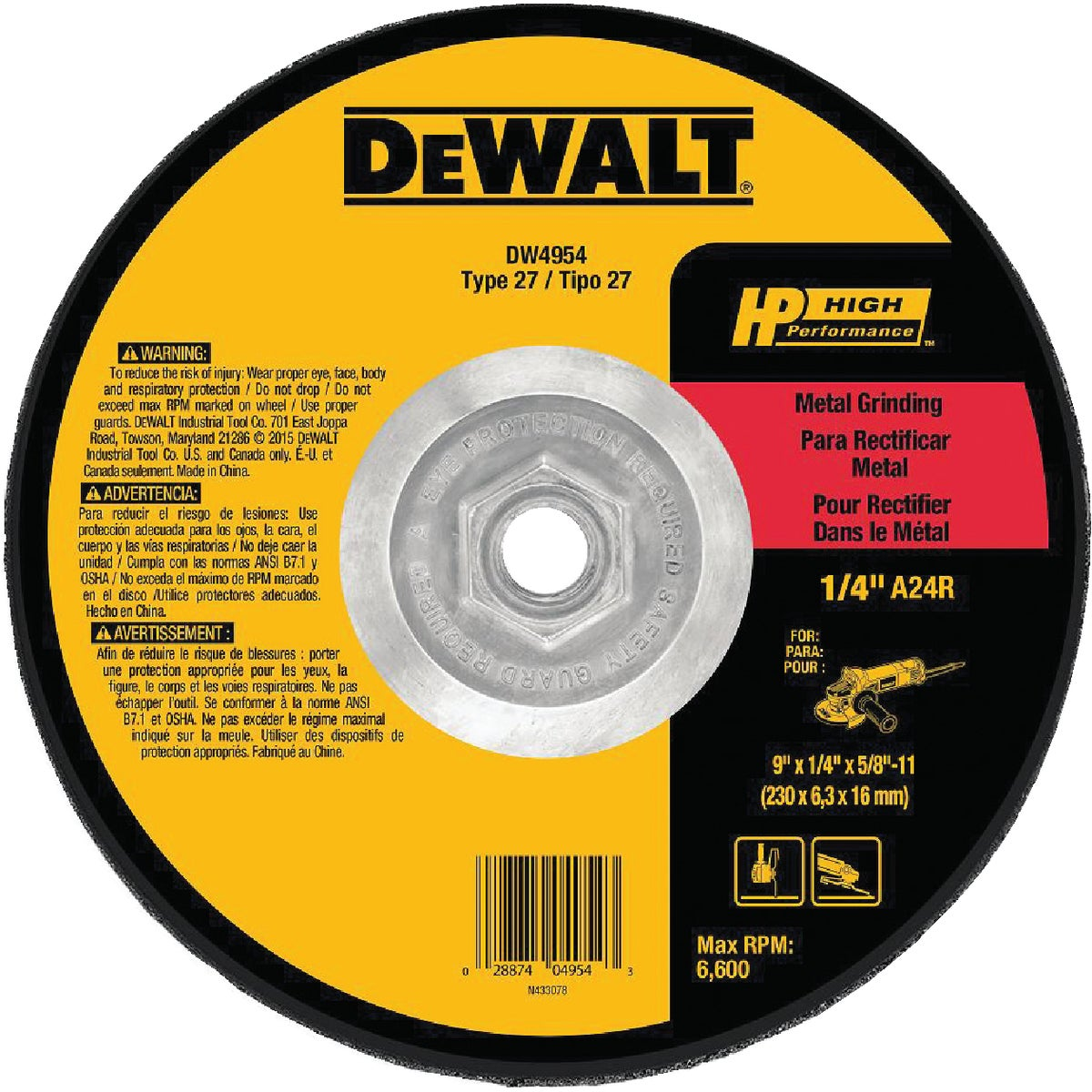 9X1/4X5/8-11 GRIND WHEEL - DW4954 by DeWalt