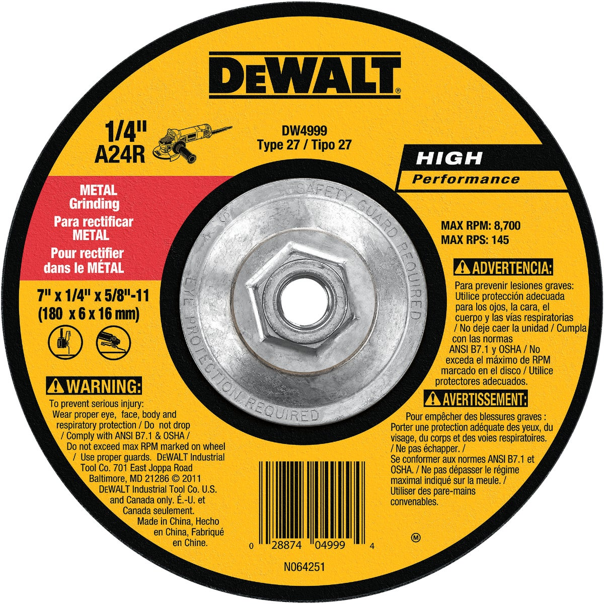 7X1/4X5/8-11 GRIND WHEEL - DW4999 by DeWalt