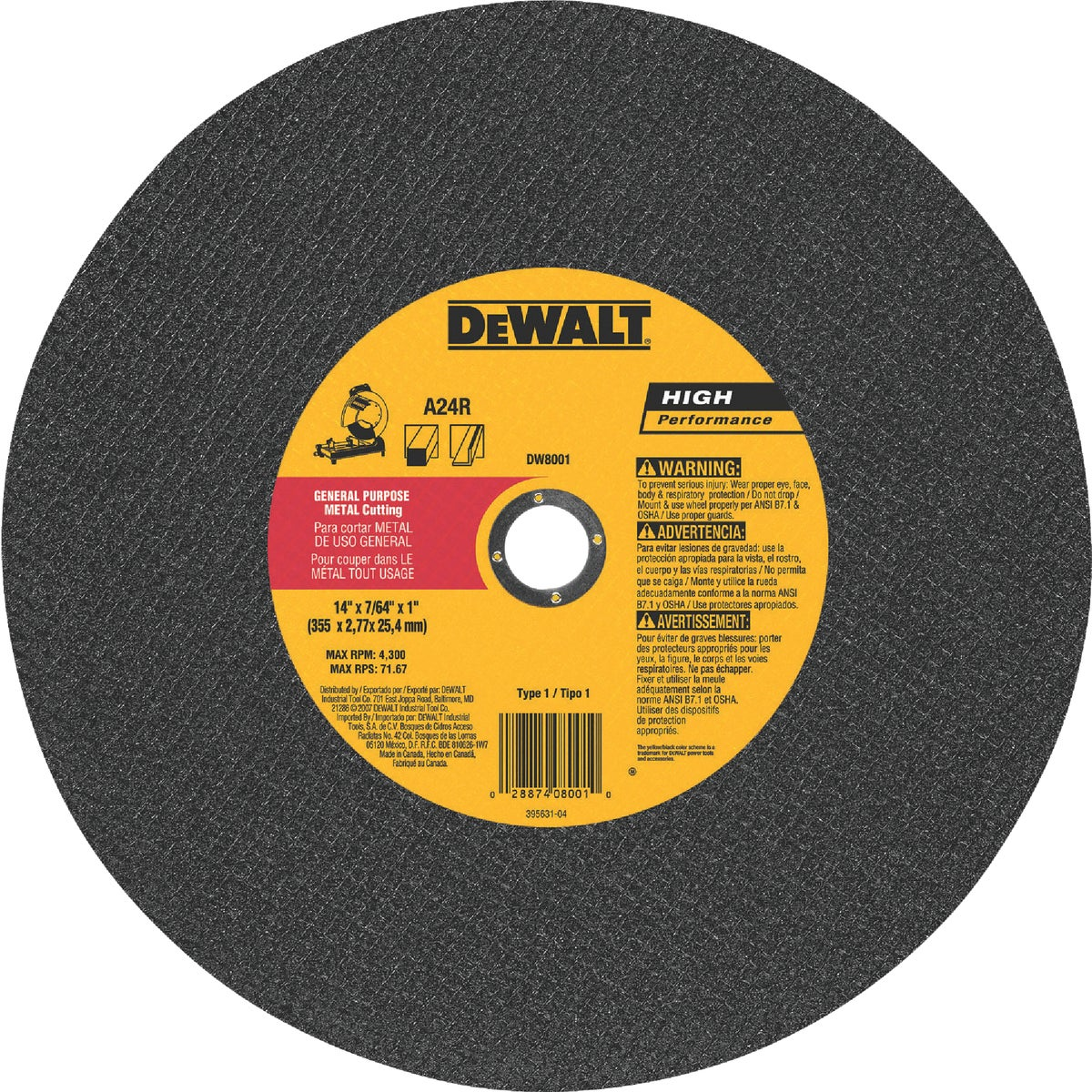 14X7/64 CUTOFF WHEEL - DW8001 by DeWalt