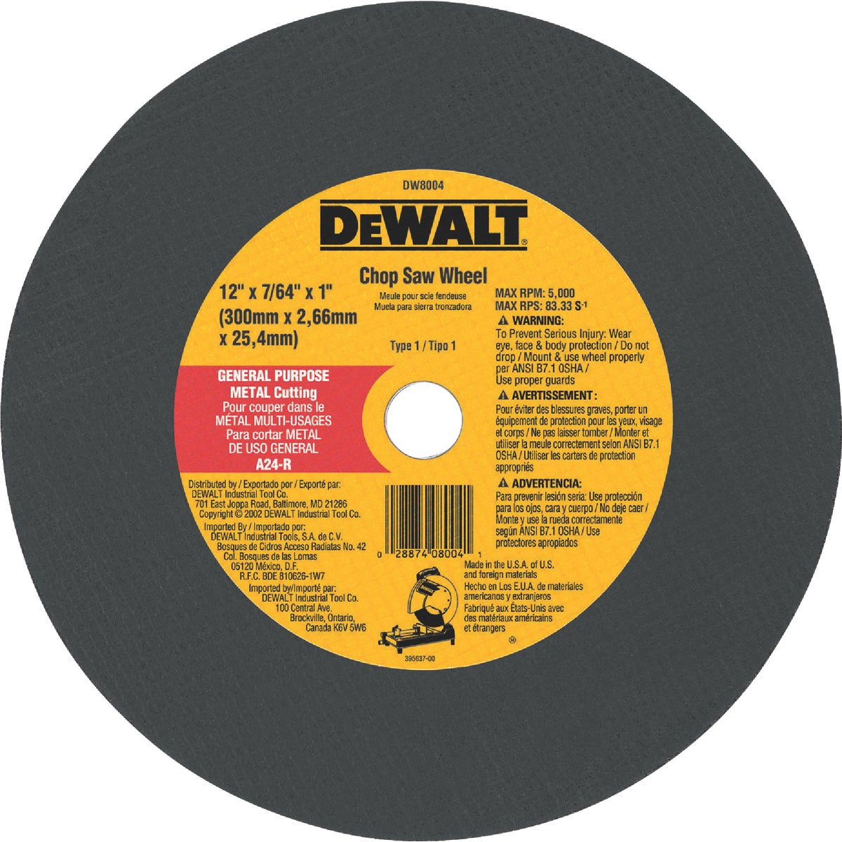 12X7/64 CUTOFF WHEEL - DW8004 by DeWalt