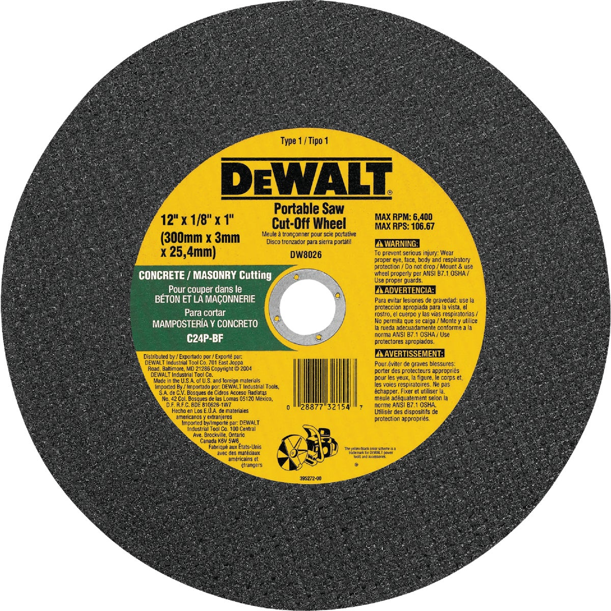 "12"" MASONRY CUTOFF WHEEL - DW8026 by DeWalt"