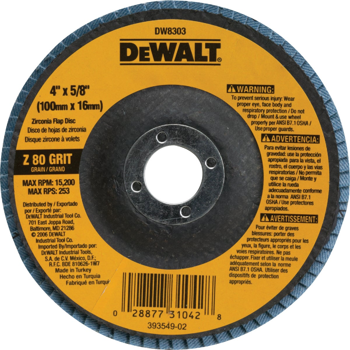 4X5/8 80 GRIT FLAP DISC - DW8303 by DeWalt