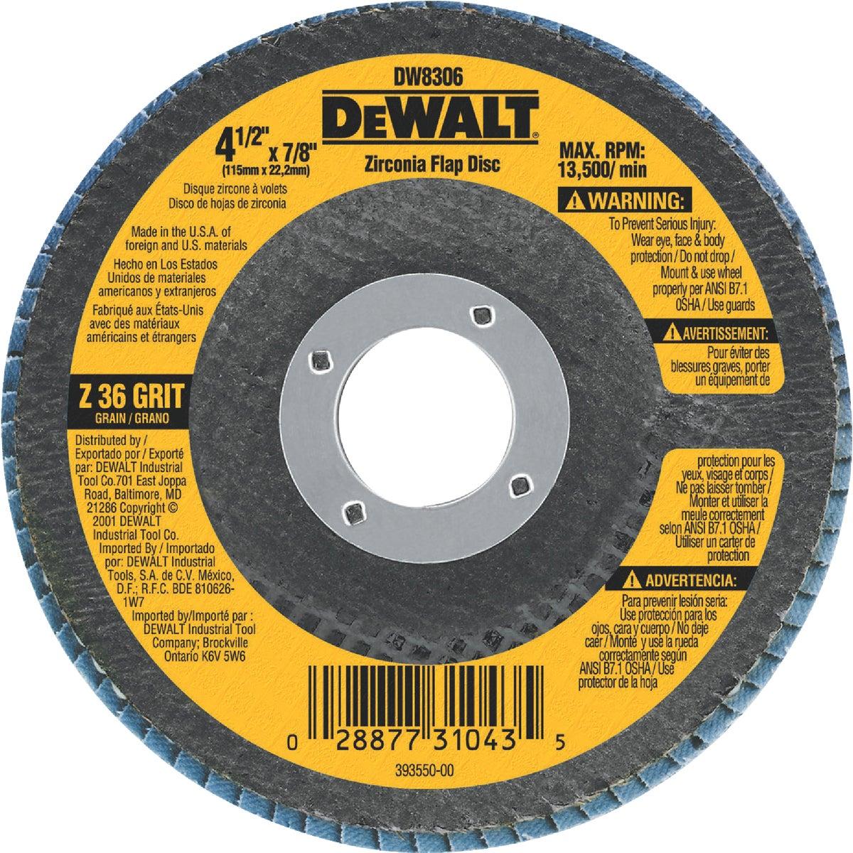 """4-1/2"""" 36 GRIT FLAP DISC - DW8306 by DeWalt"""
