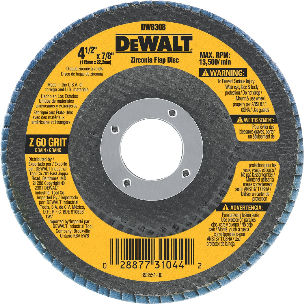 "4-1/2"" 60 GRIT FLAP DISC - DW8308 by DeWalt"