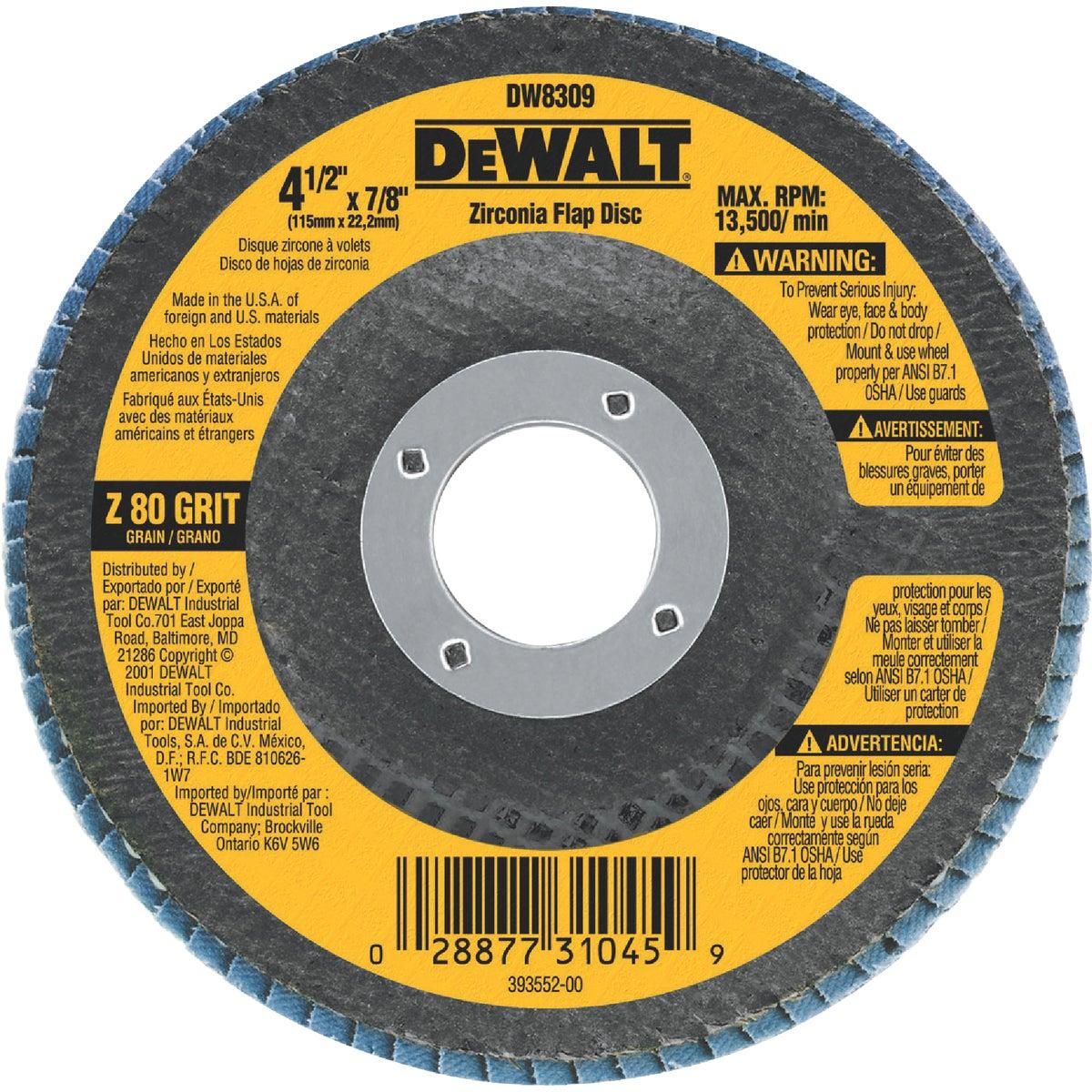 """4-1/2"""" 80 GRIT FLAP DISC - DW8309 by DeWalt"""