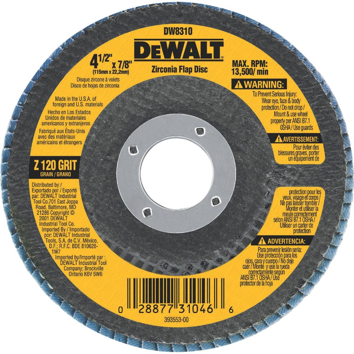 """4-1/2"""" 120GRIT FLAP DISC - DW8310 by DeWalt"""