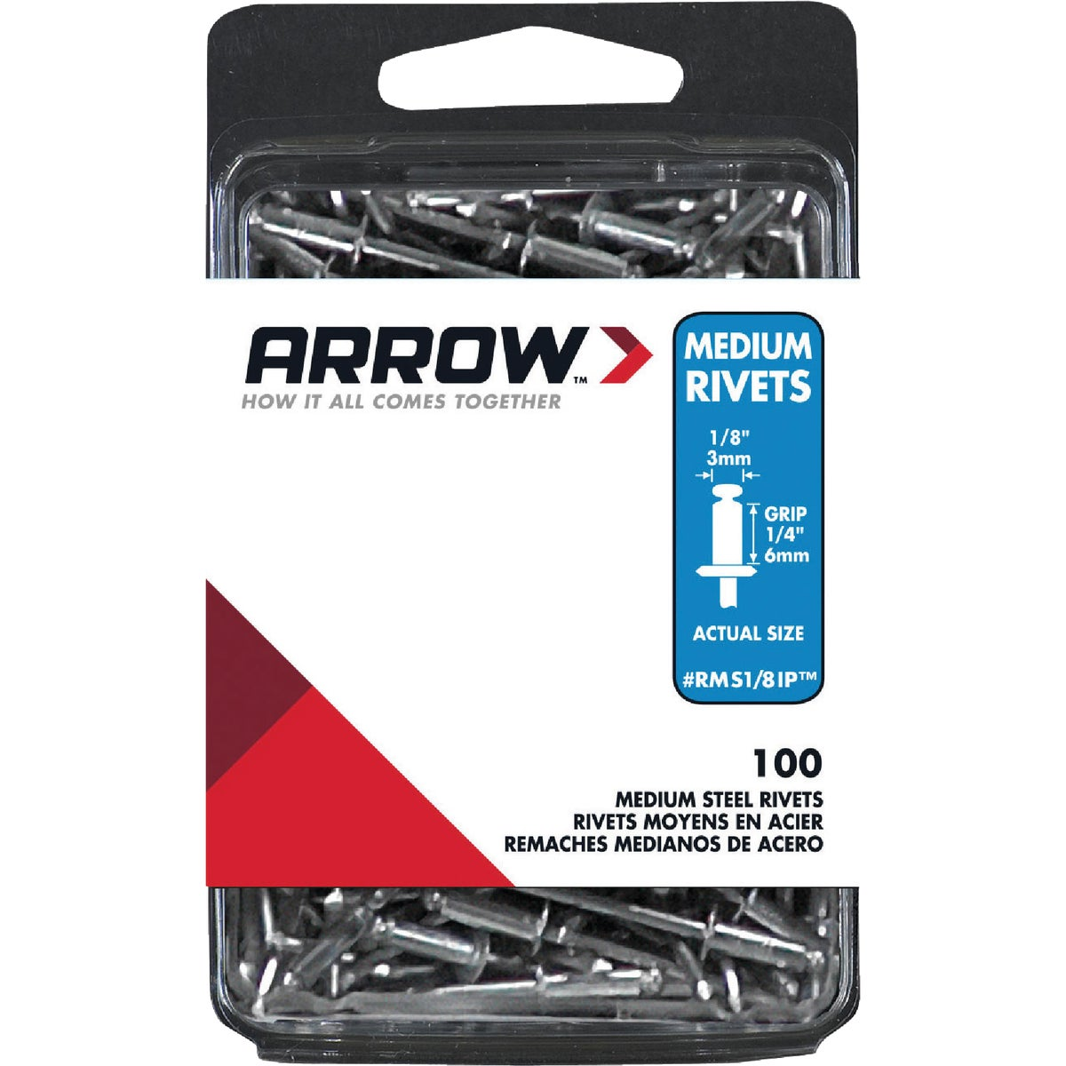Arrow Fastener 1/8X1/4 STL RIVET RMS1/8IP