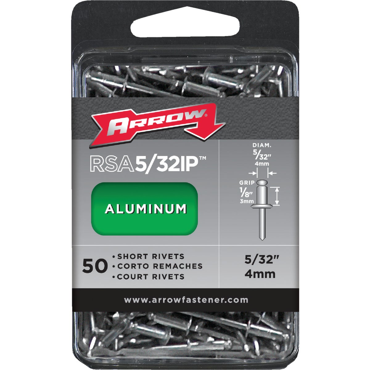5/32X1/8 ALUM RIVET - RSA5/32IP by Arrow Fastener Co