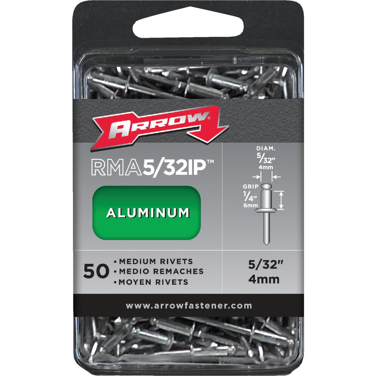 5/32X1/4 ALUM RIVET - RMA5/32IP by Arrow Fastener Co
