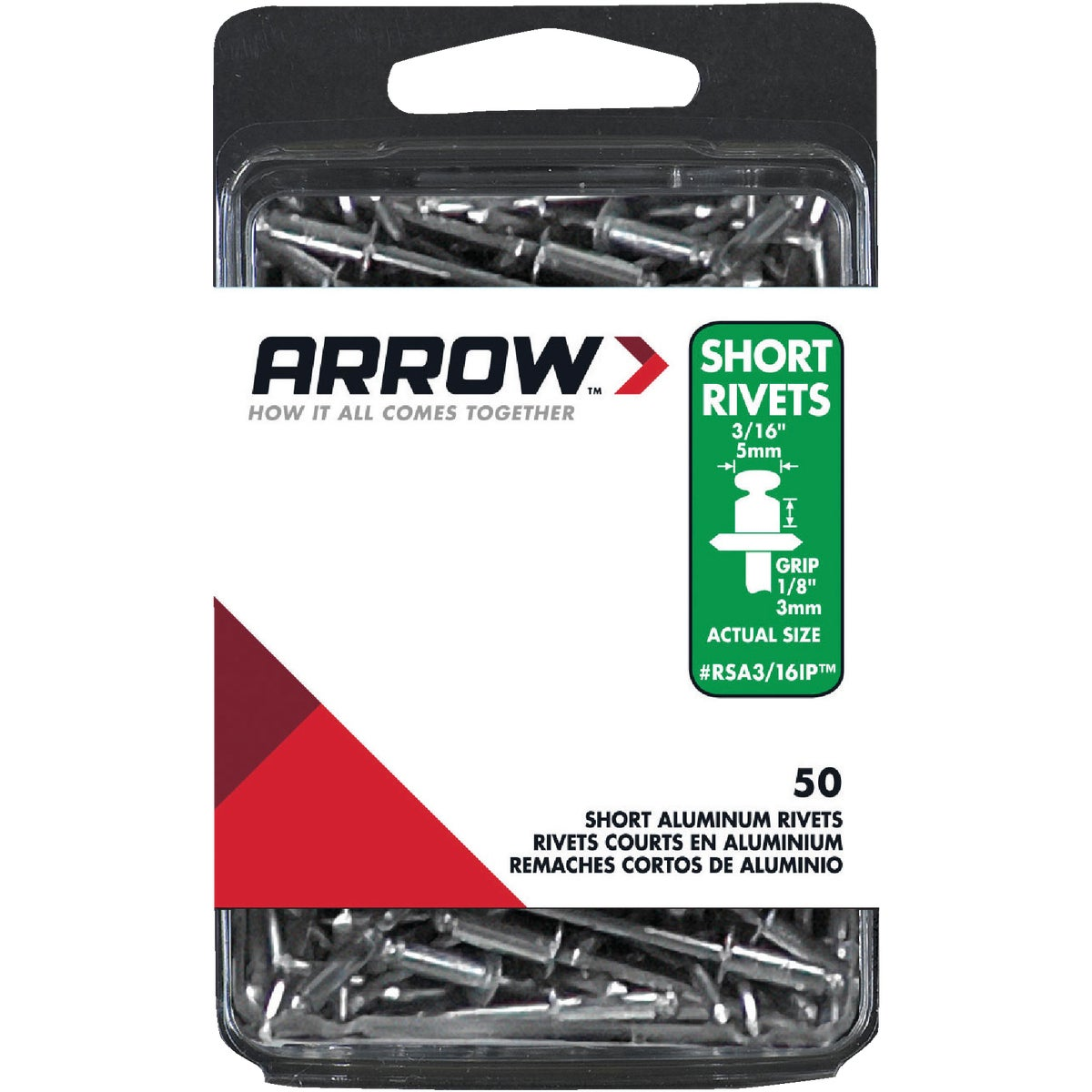3/16X1/8 ALUM RIVET - RSA3/16IP by Arrow Fastener Co