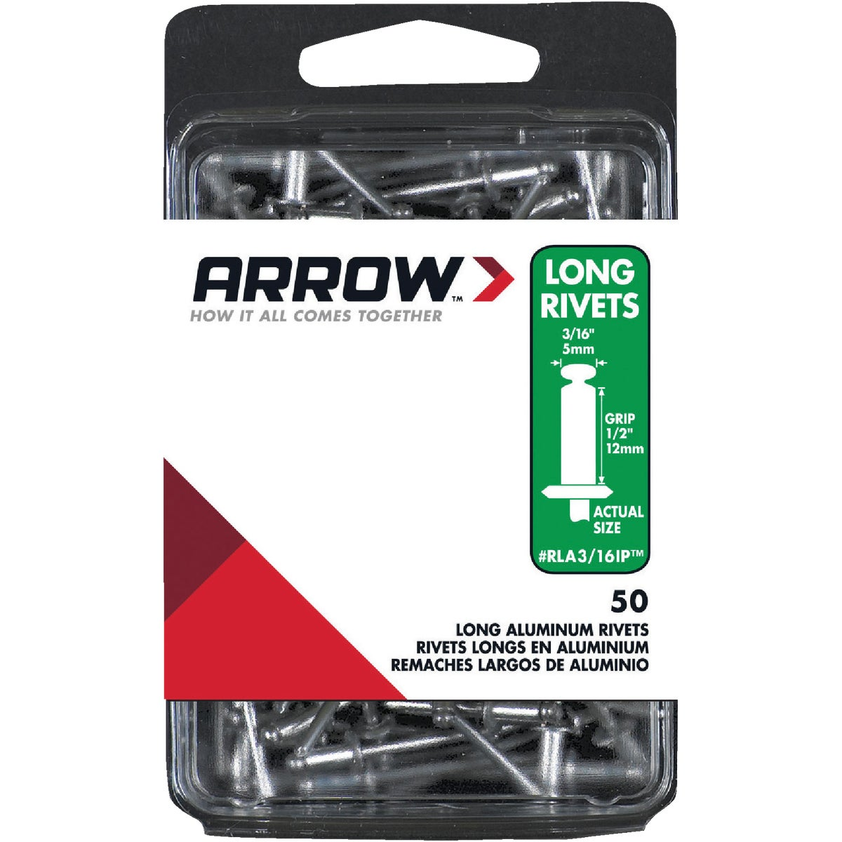 3/16X1/2 ALUM RIVET - RLA3/16IP by Arrow Fastener Co