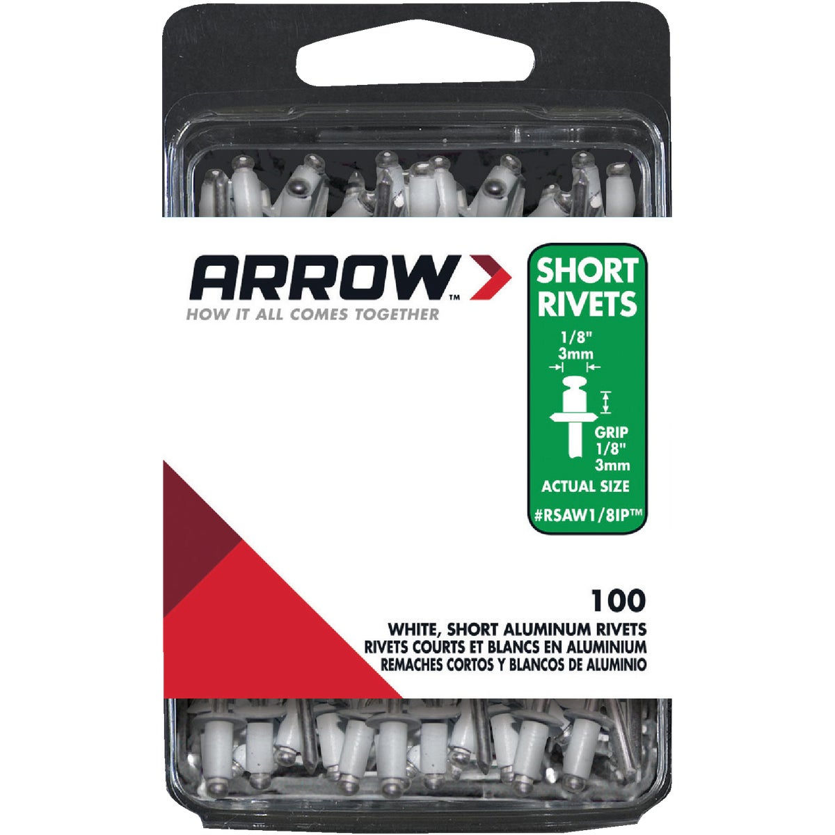 1/8X1/8 WHT ALUM RIVET - RSAW1/8IP by Arrow Fastener Co