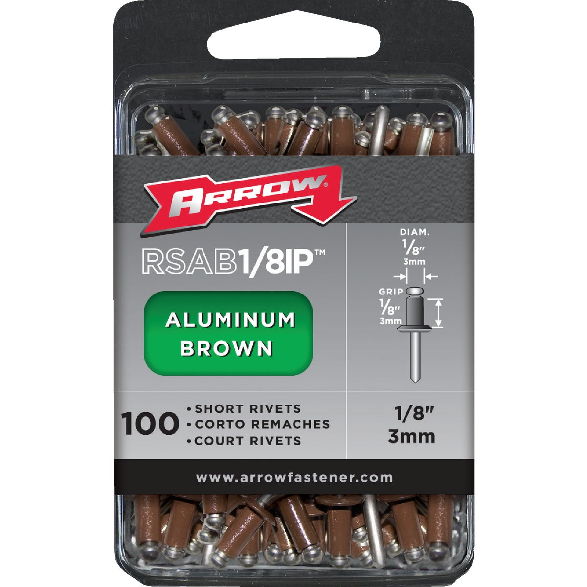 1/8X1/8 BRN ALUM RIVET - RSAB1/8IP by Arrow Fastener Co