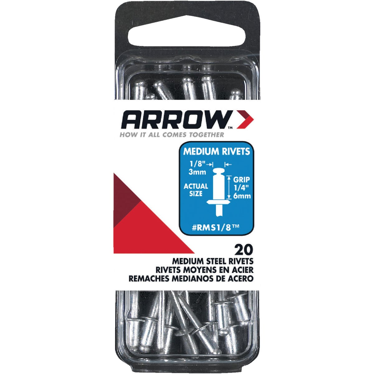 1/8X1/4 STL RIVET - RMS1/8 by Arrow Fastener Co