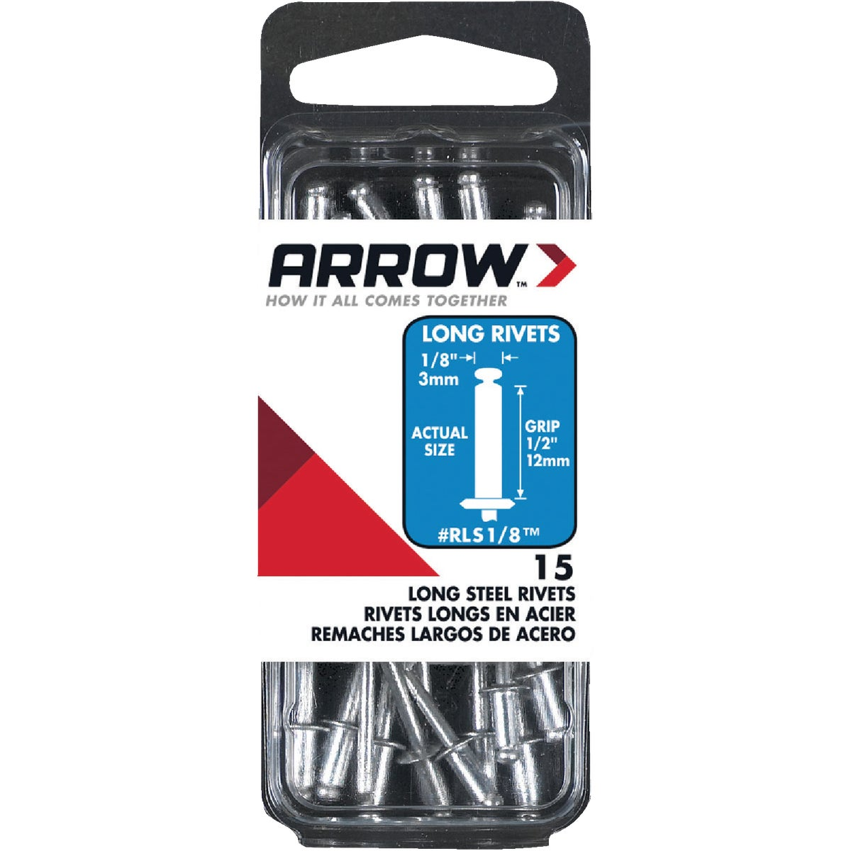 1/8X1/2 STL RIVET - RLS1/8 by Arrow Fastener Co