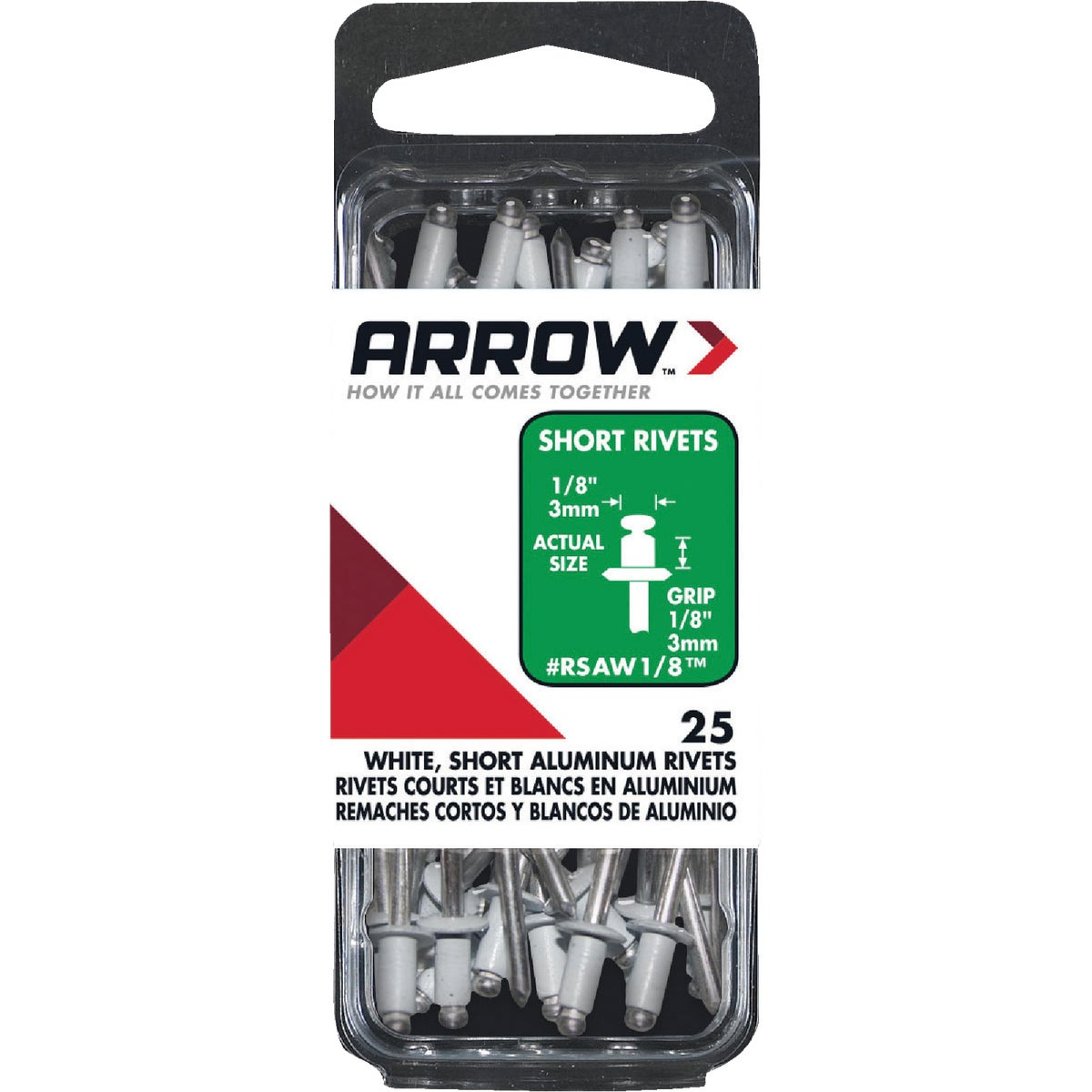 1/8X1/8 WHT ALUM RIVET - RSAW1/8 by Arrow Fastener Co