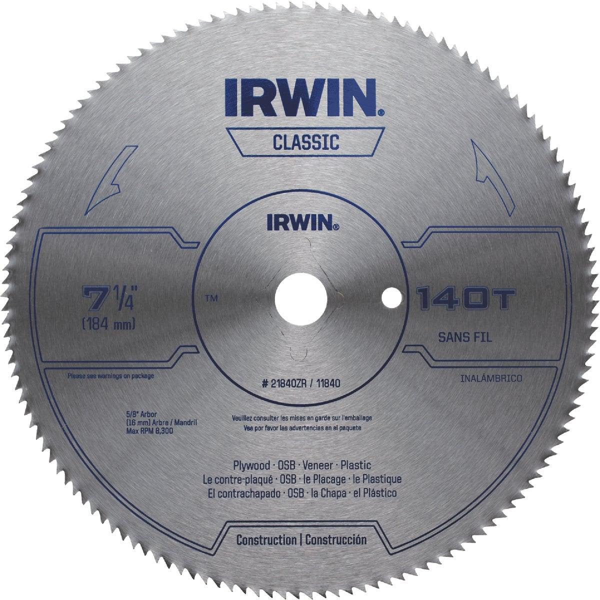 "7-1/4"" 140T BULK BLADE - 21840ZR by Irwin Industr Tool"