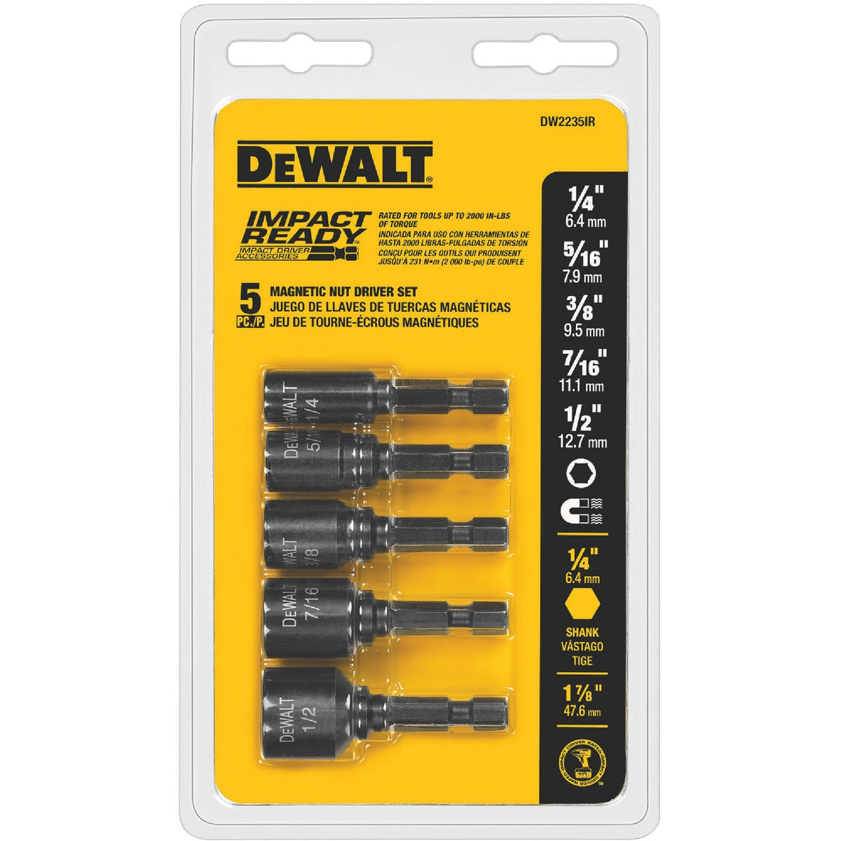 5PC IMPACT NUTDRIVER SET - DW2235IR by DeWalt