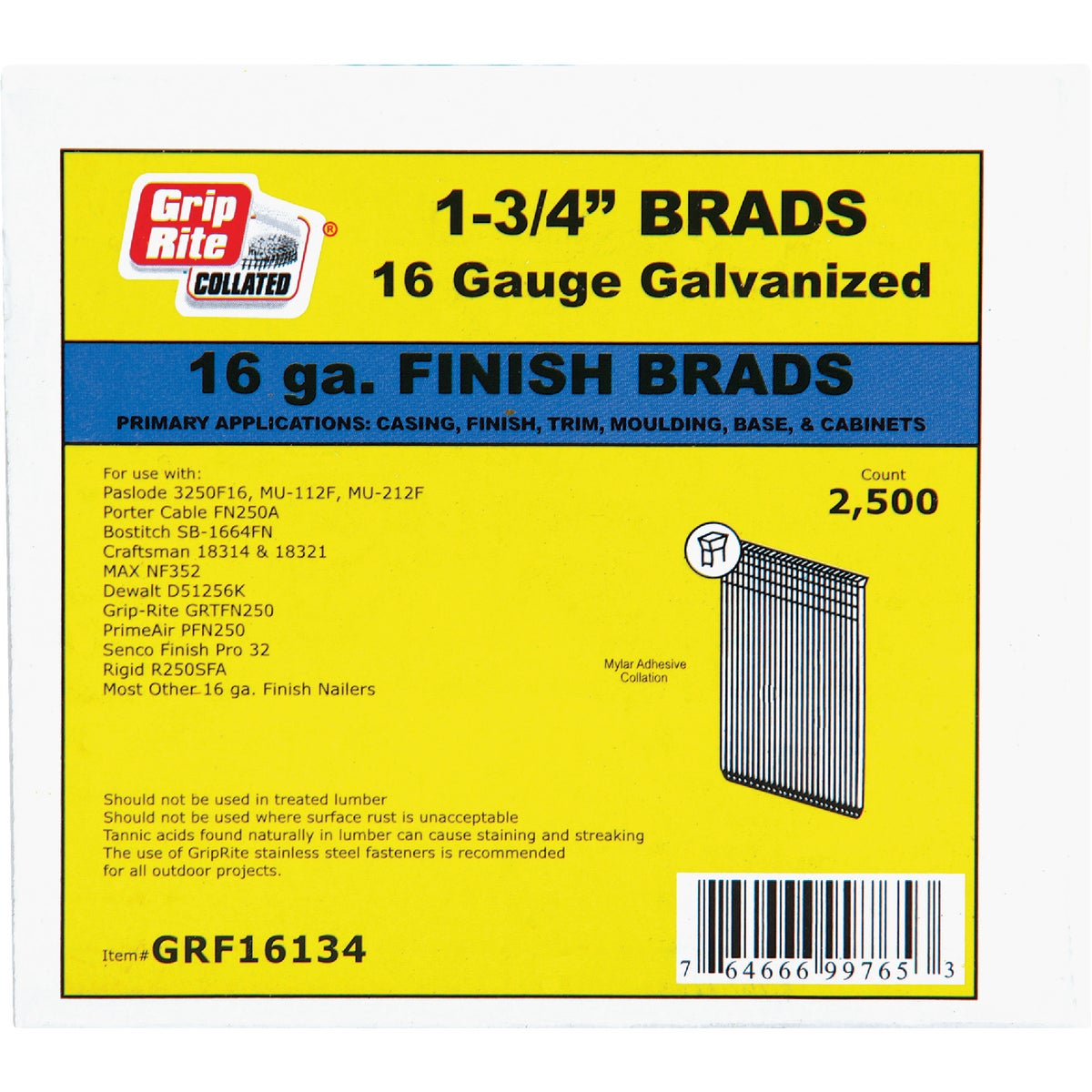 "1-3/4"" 16GA FINISH BRAD - GRF16134 by Prime Source Pneumat"