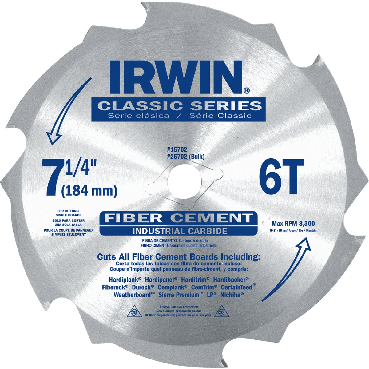 "7-1/4"" 6T FIBERCUT BLADE - 15702ZR by Irwin Industr Tool"
