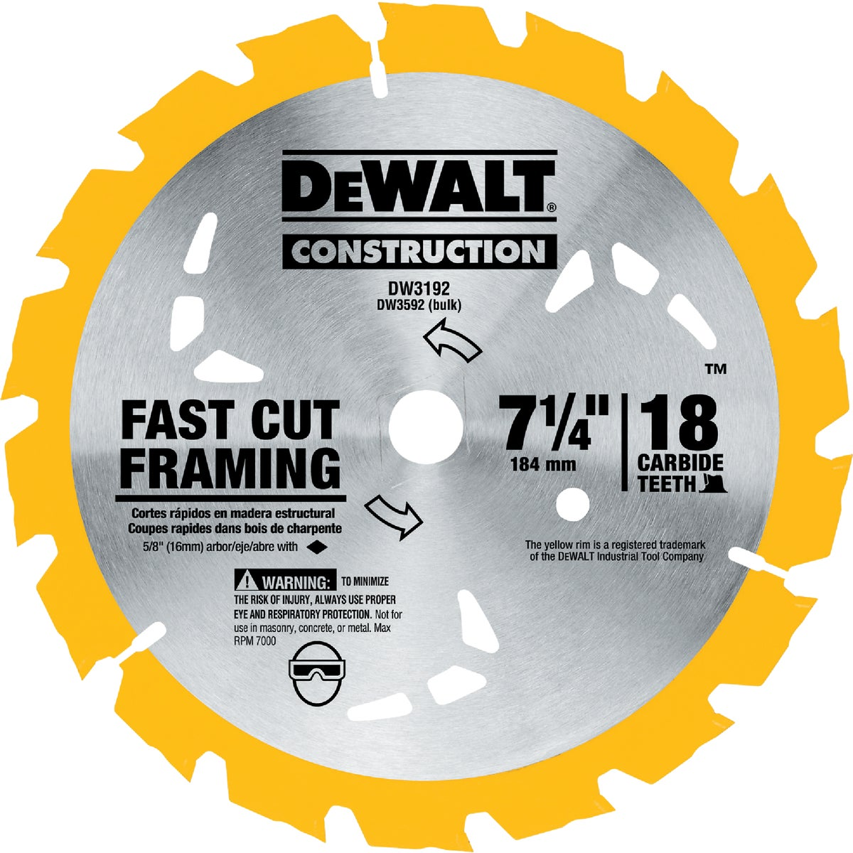 "7-1/4"" CARBIDE BLADE - DW3192 by DeWalt"