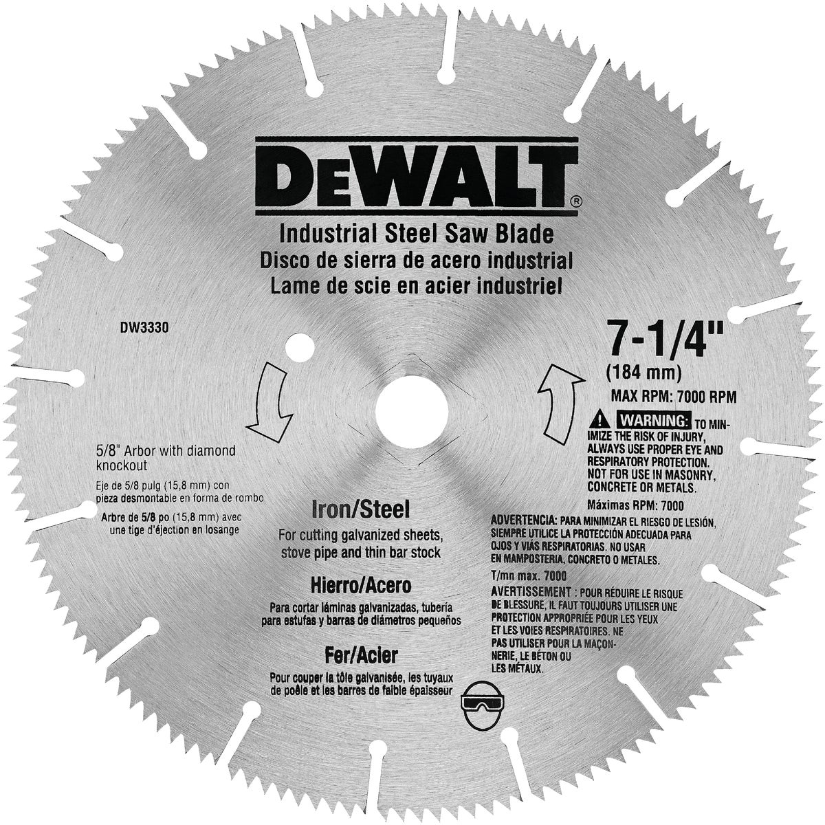 "7-1/4"" STEEL IRON BLADE - DW3330 by DeWalt"