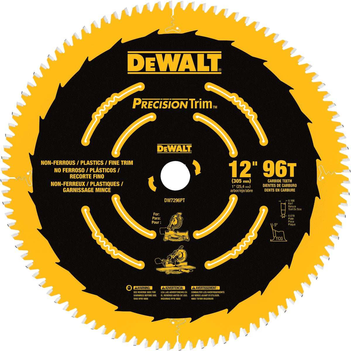 "12"" 96T COATED BLADE - DW7296PT by DeWalt"
